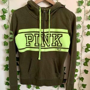 PINK VS Olive/Neon Green Half-Zip Hoodie